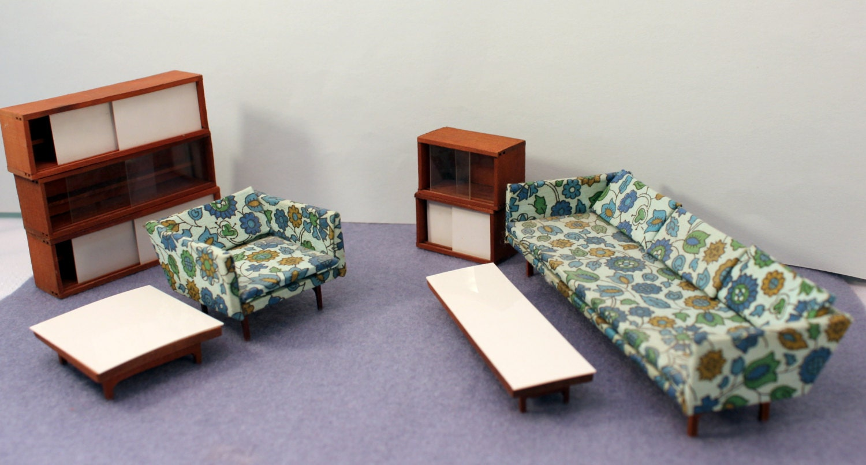 Modern Midcentury Dollhouse Furniture Teak Half Scale