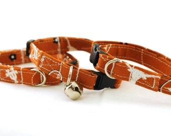 Texas Longhorns Collar -  Extra Small Dog Collar  - XS collar Burnt Orange