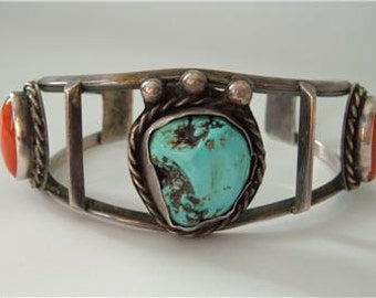 Vintage Navajo Sterling Silver Bracelet  3 Stone Silver Turquoise Red Coral Cuff