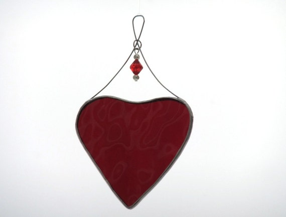 Ruby Red Stained Glass Heart Valentine Suncatcher