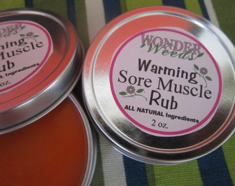 WARMING Sore Muscle Rub, Cayenne Pepper, Ginger, Eucalyptus, Peppermint, Organic Menthol