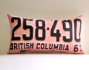 Pink British Columbia license plate pillow