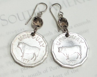 Uruguay, Vintage Coin Earrings --- Happy Cows --- Cattle - Bull - Steer - Beef - Farm - Argiculture - 4H Club - Wheres the Beef - Travel
