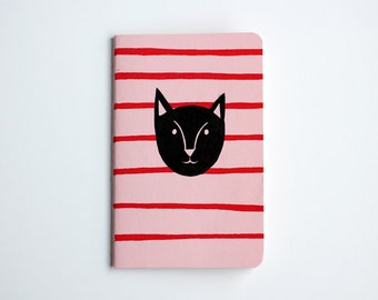 Cat Notebook, Striped, Pocket Journal, Lined Notebook, Cat Illustration, Hand Drawn, OOAK, Pink, Red, Gift for her, Idea Notebook