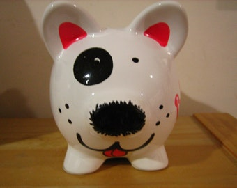 Personalized Small Piggy Bank Puppy Dog Polka Dots