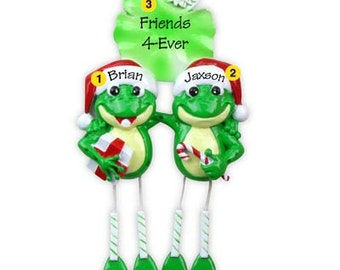 Personalized Christmas Ornament Frog Couplel  Family of Two, Twins, Couple's 1st Christmas-  -Free Personalization