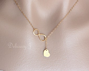 Gold Infinity lariat necklace initial heart necklace, Personalized initial necklace, Infinity and heart necklace, Mother bridesmaid gifts