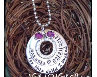 Personalized Hand Stamped For This Child I Prayed Necklace