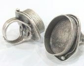 1 Pc (25x18 mm Blank) Antique Silver Plated Brass Oval Ring Blank, Bezel Settings,Cabochon Base,Mountings  G1601