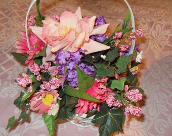 Multi Colored Floral Arrangement in White Wicker Criss Cross Basket with H P Floral Trim New