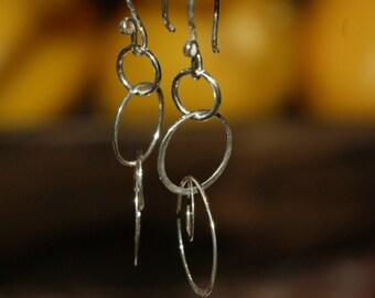 Sterling Silver Circle Hoop Earrings, Handmade