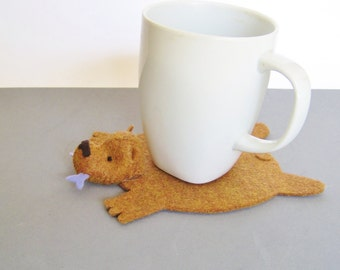Bear Rug Coaster with Fish (copper with periwinkle fish)