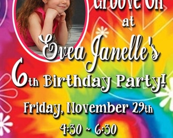 Groovy Tye Dye and Peace Signs Birthday Invitation for a GIRL or BOY