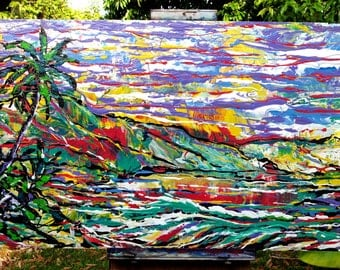 """NORTH SHORE Oahu HAWAII Large Original Acrylic Painting  36"""" x 24""""  Colorful Expressionism"""