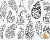 Paisley Digital Stamp Clip Art, Bohemian ClipArt Download Doodles, Silhouettes & Line Art, Hand Drawn Ornament, Indian Decorative Design