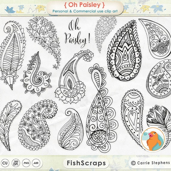 Paisley Digital Stamp Clip Art Bohemian ClipArt Download