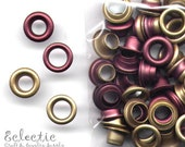 40 Antique Brass Wine Red 2-PART EYELETS Grommets Fit 4mm Hole 5/32 in.