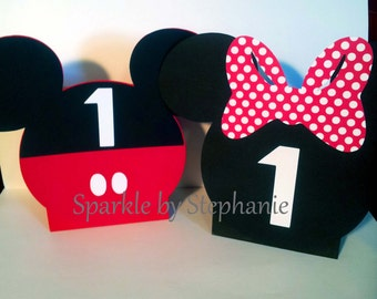 Mickey Mouse & Minnie Mouse Centerpiece Balloon Holders Set of 2 Customized with Childs Age