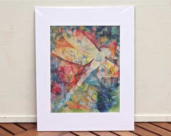 Dragonfly Watercolor painting- colorful fine art giclee print of original- matted and ready to frame! by Heather Brockman Lee