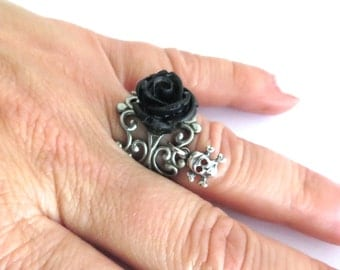 Black Rose Skull Ring- Antique Silver Adjustable Ring- Small Rose
