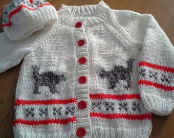 Hand Knitted Childs Boys Girls Button Cardigan/Hat/Dog/Cat/Moose