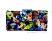 CLEARANCE - Handmade women bifold black wallet colorful pansies- ID clear pocket - Ready to Ship