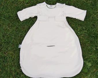 Organic Bamboo Baby Sleep Sack, with Sleeves (SALE - 40 dollars off), Brown trim, 0-6 months