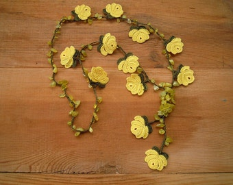 crochet rose necklace, lemon yellow green