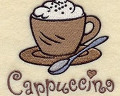 Embroidered Flour Sack Towel / Hand Towel / Quilt Block - Coffee Embroidery Design