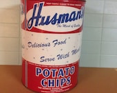 Vintage Husman's Potato Chip Can Cincinnati Ohio
