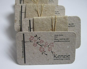 Rounded Corner Business Cards - Handmade Paper Business Cards - Custom Printed Cards - Recycled Cards - Eco Friendly Business Cards