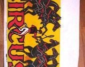 Dancing Horses 1940s Original Silkscreen Circus Poster Blank