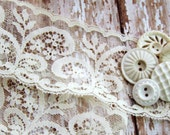 Romantic Scalloped Edge Vintage Floral Ivory Net Lace over 2 inches wide– 1 yard