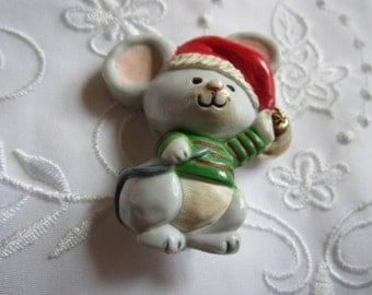 Vintage Hallmark Christmas Mouse Brooch with Red Hat, Green Sweater and Gold Tone Metal Bell