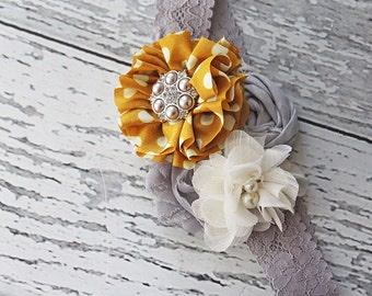 Just Fleur Fun- mustard polka dot  blossom and rosette headband in grey, ivory and mustard yellow