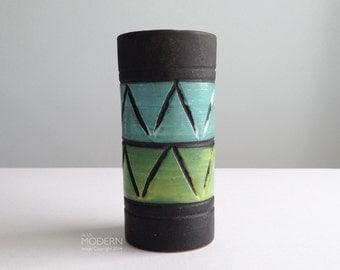 Italian Mid Century Blue Green Incised Matte Black Vase