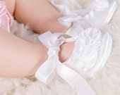 White baby shoes girls white toddler girls shoes white baptism shoes white satin shoes christening shoes - Pure White
