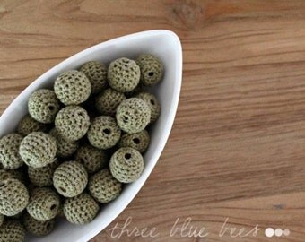 Olive Green Crocheted Beads 12pcs