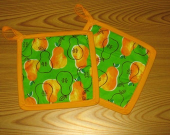 Orange and Green Pear Potholders Set of 2