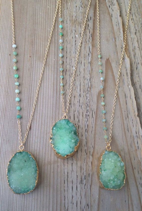 Green Druzy Necklaces with Chrysoprase Stone Accents - NG06Druzy