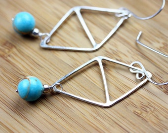 Sterling Silver Triangle & Magnesite Earrings