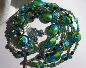 Lime Green and Turquoise Blue Glass Necklace and (FREE) Earrings Set