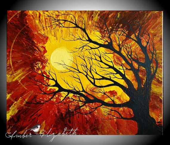 Fine Art Giclee Print of Original Painting The Radiant Warmth Amber Elizabeth Lamoreaux Surreal Tree Yellow Gold Brown Sun
