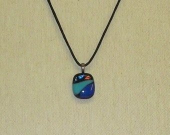 Fused Dichroic & Blue Glass Pendant #44
