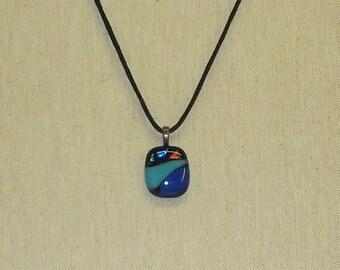 Nautical Fused Dichroic & Blue Glass Pendant
