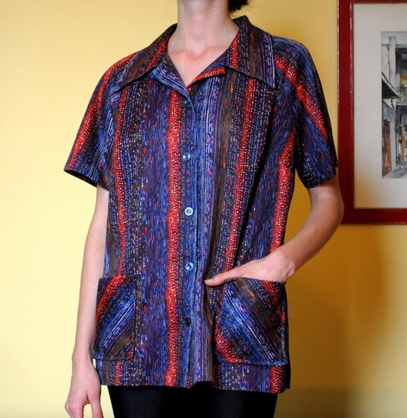 Vintage shirt abstract pattern button up women size large for Custom pattern button down shirts