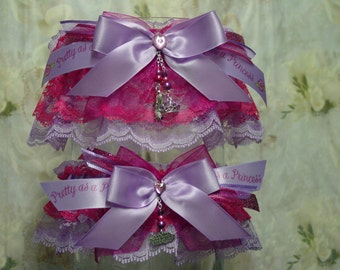 Lavender and Pink Pretty as a Princess Garter Set