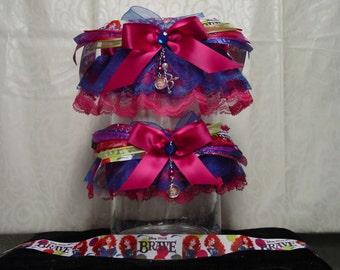 Disney Brave Merida Inspired Garter Set in Pink and Royal Blue