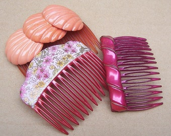Decorative hair comb 3 pink hair accessories hair pin hair clip hair barrette hair slide hair jewelry hair ornament headdress (AA)