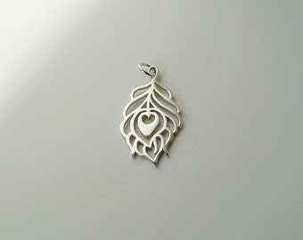 Peacock Feather Sterling Silver Pendant